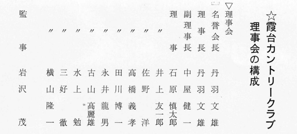 霞台CC理事会の構成 丹波文雄 石原慎太郎 佐野洋 古山高麗雄 水上勉 三好徹 横山隆一